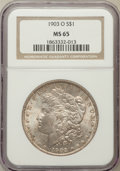 Morgan Dollars: , 1903-O $1 MS65 NGC. NGC Census: (1306/384). PCGS Population(2060/653). Mintage: 4,450,000. Numismedia Wsl. Price for probl...
