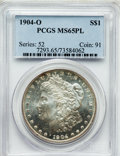 Morgan Dollars: , 1904-O $1 MS65 Prooflike PCGS. PCGS Population (437/64). NGCCensus: (401/51). Mintage: 3,720,000. Numismedia Wsl. Price fo...