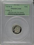 Proof Roosevelt Dimes: , 1979-S 10C Type Two PR69 Deep Cameo PCGS. PCGS Population(1689/68). NGC Census: (245/12). Numismedia Wsl. Price: $22. (#9...