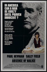 """Absence of Malice (Columbia, 1981). One Sheet (27"""" X 41""""). Drama. Directed by Sydney Pollack. Starring Paul Ne..."""
