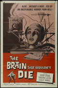 "Movie Posters:Science Fiction, The Brain That Wouldn't Die (American International, 1962). OneSheet (27"" X 41""). Horror. Directed by Joseph Green. Starrin..."