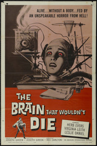 """The Brain That Wouldn't Die (American International, 1962). One Sheet (27"""" X 41""""). Horror. Directed by Joseph..."""