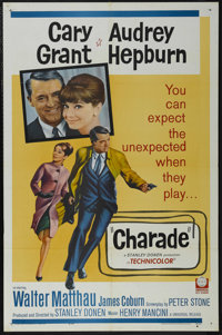 """Charade (Universal, 1963). One Sheet (27"""" X 41""""). Thriller. Directed by Stanley Donen. Starring Cary Grant, Au..."""