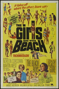 """The Girls on the Beach (Paramount, 1965). One Sheet (27"""" X 41""""). Rock Musical. Directed by William Witney. Sta..."""