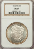 Morgan Dollars: , 1878-CC $1 MS64 NGC. NGC Census: (4517/1485). PCGS Population(6295/1910). Mintage: 2,212,000. Numismedia Wsl. Price for pr...