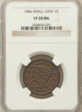 Large Cents: , 1846 1C Small Date VF20 NGC. NGC Census: (4/350). PCGS Population(5/222). Mintage: 4,120,800. Numismedia Wsl. Price for pr...