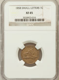 Flying Eagle Cents: , 1858 1C Small Letters XF45 NGC. NGC Census: (0/3). PCGS Population(100/783). Numismedia Wsl. Price for problem free NGC/P...
