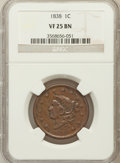 Large Cents: , 1838 1C VF25 NGC. NGC Census: (8/636). PCGS Population (17/599).Mintage: 6,370,200. Numismedia Wsl. Price for problem free...
