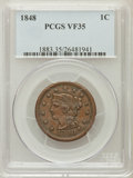 Large Cents: , 1848 1C VF35 PCGS. PCGS Population (21/317). NGC Census: (9/554).Mintage: 6,415,799. Numismedia Wsl. Price for problem fre...