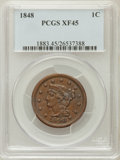 Large Cents: , 1848 1C XF45 PCGS. PCGS Population (49/244). NGC Census: (29/512).Mintage: 6,415,799. Numismedia Wsl. Price for problem fr...