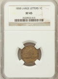 Flying Eagle Cents: , 1858 1C Large Letters XF45 NGC. NGC Census: (0/177). PCGSPopulation (72/1558). Mintage: 24,600,000. Numismedia Wsl. Price...