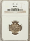 Buffalo Nickels: , 1914 5C AU55 NGC. NGC Census: (23/1203). PCGS Population (36/1652).Mintage: 20,665,738. Numismedia Wsl. Price for problem ...