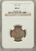 Liberty Nickels: , 1911 5C MS61 NGC. NGC Census: (21/1080). PCGS Population (12/1234).Mintage: 39,559,372. Numismedia Wsl. Price for problem ...