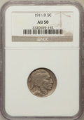 Buffalo Nickels: , 1915-D 5C AU50 NGC. NGC Census: (12/800). PCGS Population(39/1032). Mintage: 7,569,000. Numismedia Wsl. Price for problem...