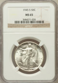 Walking Liberty Half Dollars: , 1945-S 50C MS65 NGC. NGC Census: (2784/639). PCGS Population(3583/919). Mintage: 10,156,000. Numismedia Wsl. Price for pro...