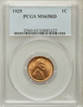 Lincoln Cents: , 1925 1C MS65 Red PCGS. PCGS Population (509/408). NGC Census:(183/127). Mintage: 139,948,992. Numismedia Wsl. Price for pr...