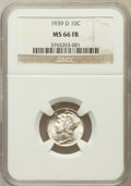 Mercury Dimes: , 1939-D 10C MS66 Full Bands NGC. NGC Census: (758/486). PCGSPopulation (1910/612). Mintage: 24,394,000. Numismedia Wsl. Pri...