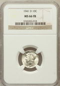 Mercury Dimes, 1941-D 10C MS66 Full Bands NGC. NGC Census: (1001/448). PCGSPopulation (2037/574). Mintage: 46,634,000. Numismedia Wsl. Pr...