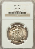 Walking Liberty Half Dollars: , 1942 50C MS63 NGC. NGC Census: (1199/11832). PCGS Population(2242/15214). Mintage: 47,839,120. Numismedia Wsl. Price for p...