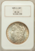Morgan Dollars: , 1878-S $1 MS64 NGC. NGC Census: (14052/4469). PCGS Population(12814/4238). Mintage: 9,774,000. Numismedia Wsl. Price for p...