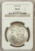 Morgan Dollars: , 1879 $1 MS63 NGC. NGC Census: (3231/4523). PCGS Population(3999/4485). Mintage: 14,807,100. Numismedia Wsl. Price for prob...