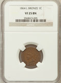 Indian Cents: , 1864 1C L On Ribbon VF25 NGC. NGC Census: (20/738). PCGS Population(37/876). Mintage: 39,233,712. Numismedia Wsl. Price fo...