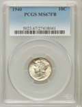 Mercury Dimes: , 1940 10C MS67 Full Bands PCGS. PCGS Population (338/24). NGCCensus: (322/6). Mintage: 65,361,828. Numismedia Wsl. Price fo...