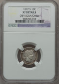 Barber Dimes: , 1897-S 10C -- Obverse Scratched -- NGC Details. XF. NGC Census:(2/67). PCGS Population (6/121). Mintage: 1,342,844. Numism...