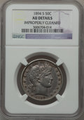 Barber Half Dollars: , 1894-S 50C -- Improperly Cleaned -- NGC Details. AU. NGC Census:(7/137). PCGS Population (13/171). Mintage: 4,048,690. Num...