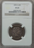 Barber Quarters: , 1895-S 25C VF25 NGC. NGC Census: (3/81). PCGS Population (3/110).Mintage: 1,764,681. Numismedia Wsl. Price for problem fre...