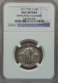 Standing Liberty Quarters: , 1917 25C Type Two -- Improperly Cleaned -- NGC Details. UNC. NGCCensus: (0/378). PCGS Population (3/459). Mintage: 13,880,...