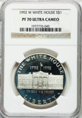 Modern Issues: , 1992-W $1 White House Silver Dollar PR70 Ultra Cameo NGC. NGCCensus: (57). PCGS Population (90). Mintage: 375,849. Numisme...