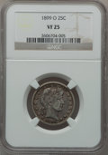 Barber Quarters: , 1899-O 25C VF25 NGC. NGC Census: (2/86). PCGS Population (0/157).Mintage: 2,644,000. Numismedia Wsl. Price for problem fre...