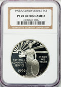 Modern Issues: , 1996-S $1 Community Service Silver Dollar PR70 Ultra Cameo NGC. NGCCensus: (127). PCGS Population (159). Mintage: 101,543....