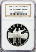 Modern Issues, 2004-P $1 Lewis and Clark Silver Dollar PR70 Ultra Cameo NGC. NGCCensus: (703). PCGS Population (778). Numismedia Wsl. Pr...