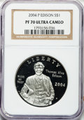 Modern Issues: , 2004-P $1 Edison Silver Dollar PR70 Ultra Cameo NGC. NGC Census:(335). PCGS Population (94). Numismedia Wsl. Price for pr...