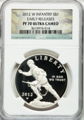 Modern Issues, 2012-W $1 Infantry, Early Releases PR70 Ultra Cameo NGC. NGCCensus: (376). PCGS Population (183)....