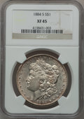 Morgan Dollars: , 1884-S $1 XF45 NGC. NGC Census: (842/5217). PCGS Population(1046/4508). Mintage: 3,200,000. Numismedia Wsl. Price for prob...