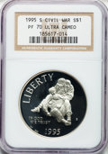 Modern Issues: , 1995-S $1 Civil War Silver Dollar PR70 Ultra Cameo NGC. NGC Census:(119). PCGS Population (105). Numismedia Wsl. Price fo...