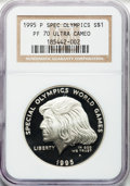 Modern Issues: , 1995-P $1 Special Olympics Silver Dollar PR70 Ultra Cameo NGC. NGCCensus: (40). PCGS Population (50). Numismedia Wsl. Pri...