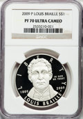 Modern Issues, 2009-P $1 Braille PR70 Ultra Cameo NGC. NGC Census: (560). PCGSPopulation (115)....