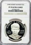 Modern Issues: , 1998-S $1 Robert F. Kennedy Silver Dollar PR70 Ultra Cameo NGC. NGCCensus: (62). PCGS Population (42). Numismedia Wsl. Pr...