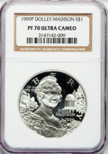 Modern Issues: , 1999-P $1 Dolley Madison Silver Dollar PR70 Ultra Cameo NGC. NGCCensus: (415). PCGS Population (266). Numismedia Wsl. Pri...