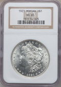Morgan Dollars: , 1921 $1 MS65 NGC. NGC Census: (7788/551). PCGS Population(3882/351). Mintage: 44,690,000. Numismedia Wsl. Price forproble...