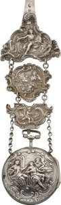 Timepieces:Pocket (pre 1900) , Dawson Verge With Repousse Pair Case & Silver Chatelaine, circa1810. ...