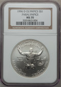 Modern Issues: , 1996-D $1 Olympic/Paralympics Silver Dollar MS70 NGC. NGC Census:(151). PCGS Population (121). Numismedia Wsl. Price for ...