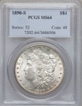Morgan Dollars: , 1890-S $1 MS64 PCGS. PCGS Population (2897/802). NGC Census:(2124/420). Mintage: 8,230,373. Numismedia Wsl. Price for prob...