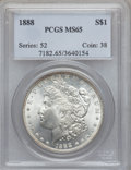 Morgan Dollars: , 1888 $1 MS65 PCGS. PCGS Population (3264/647). NGC Census:(5626/1020). Mintage: 19,183,832. Numismedia Wsl. Price for prob...