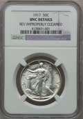 Walking Liberty Half Dollars: , 1917 50C -- Reverse Improperly Cleaned -- NGC Details. UNC. NGCCensus: (2/1698). PCGS Population (26/2075). Mintage: 12,29...