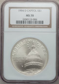 Modern Issues: , 1994-D $1 U.S. Capitol Silver Dollar MS70 NGC. NGC Census: (525).PCGS Population (333). Mintage: 68,352. Numismedia Wsl. P...